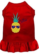 Pineapple Chillin Embroidered Dog Dress Red Sm (10)