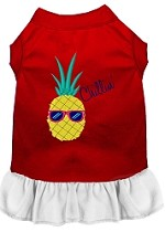 Pineapple Chillin Embroidered Dog Dress Red with White Sm (10)