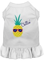Pineapple Chillin Embroidered Dog Dress White Sm (10)