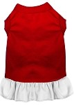 Plain Pet Dress Red with White XS (8)