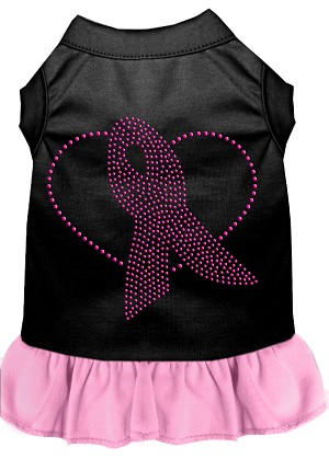 Pink Ribbon Rhinestone Dress Black with Light Pink XS (8)