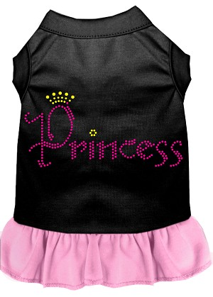 Princess Rhinestone Dress Black with Light Pink XL (16)