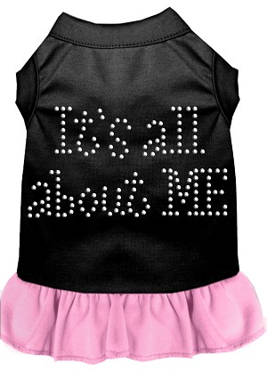 Rhinestone All About me Dress Black with Light Pink Sm (10)