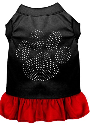 Rhinestone Clear Paw Dress Black with Red XXL (18)