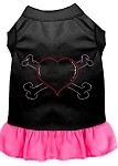 Rhinestone Heart and crossbones Dress Black with Bright Pink XS (8)