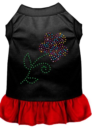 Rhinestone Multi Flower Dress Black with Red XS (8)