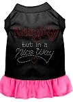 Rhinestone Naughty but in a nice way Dress Black with Bright Pink XS (8)