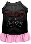 Rhinestone Naughty but in a nice way Dress Black with Light Pink XS (8)