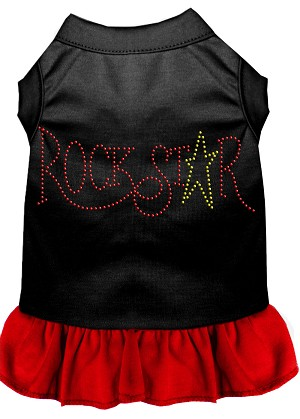 Rhinestone RockStar Dress Black with Red XS (8)