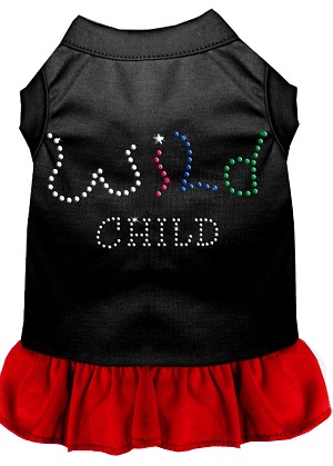 Rhinestone Wild Child Dress Black with Red XXXL (20)