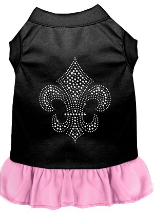 Silver Fleur de Lis Rhinestone Dress Black with Light Pink Med (12)