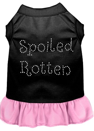 Spoiled Rotten Rhinestone Dress Black with Light Pink Lg (14)