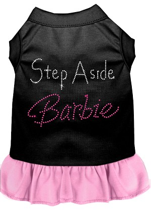 Step Aside Barbie Rhinestone Dress Black with Light Pink Sm (10)