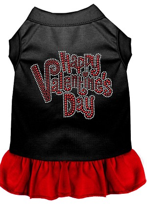 Happy Valentines Day Rhinestone Dress Black with Red XXL (18)