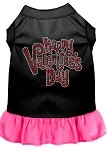 Happy Valentines Day Rhinestone Dress Black with Bright Pink XS (8)