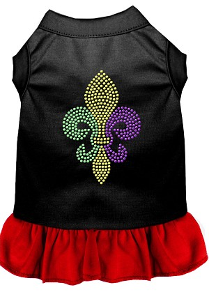 Mardi Gras Fleur De Lis Rhinestone Dress Black with Red Lg (14)