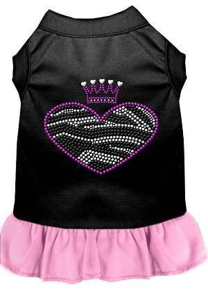 Zebra Heart Rhinestone Dress Black with Light Pink XS (8)