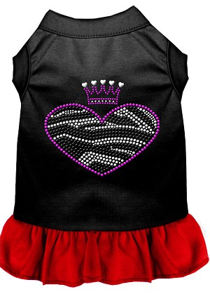 Zebra Heart Rhinestone Dress Black with Red XS (8)