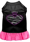 Zebra Heart Rhinestone Dress Black with Bright Pink XS (8)
