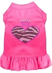 Zebra Heart Rhinestone Dress Bright Pink XS (8)