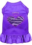 Zebra Heart Rhinestone Dress Purple XS (8)