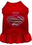 Zebra Heart Rhinestone Dress Red XS (8)