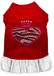 Zebra Heart Rhinestone Dress Red with White XS (8)