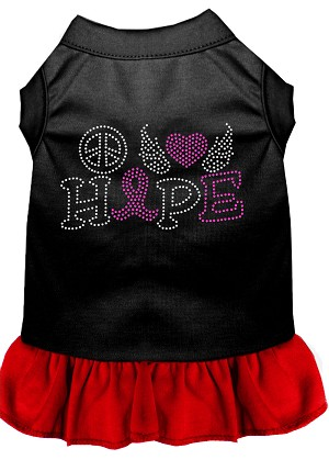 Peace Love Hope Breast Cancer Rhinestone Pet Dress Black with Red Lg (14)