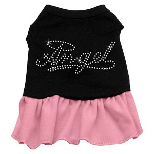 Rhinestone Angel Dress  Black with Light Pink Med (12)