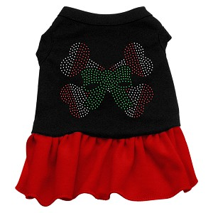 Candy Cane Crossbones Rhinestone Dress Black with Red Lg (14)