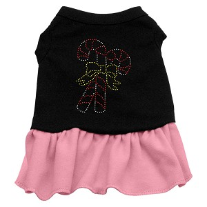 Candy Canes Rhinestone Dress Black with Light Pink Lg (14)
