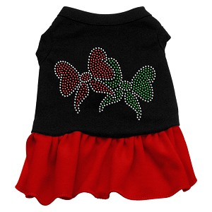 Christmas Bows Rhinestone Dress Black with Red XL (16)