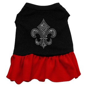 Silver Fleur de Lis Rhinestone Dress Black with Red Med (12)