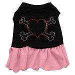 Rhinestone Heart and crossbones Dress Black with Light Pink Sm (10)