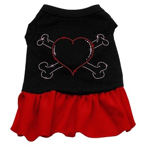 Rhinestone Heart and crossbones Dress Black with Red Sm (10)