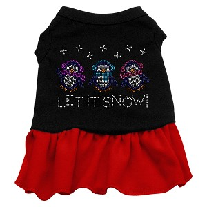 Let it Snow Penguins Rhinestone Dress Black with Red XS (8)