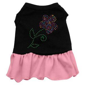 Rhinestone Multi Flower Dress Black with Pink XS (8)