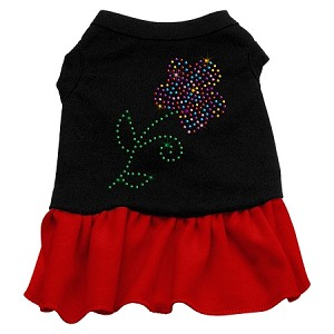 Rhinestone Multi Flower Dress Black with Red XXXL (20)