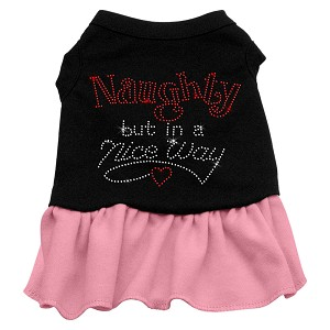Rhinestone Naughty but in a nice way Dress Black with Light Pink XL (16)