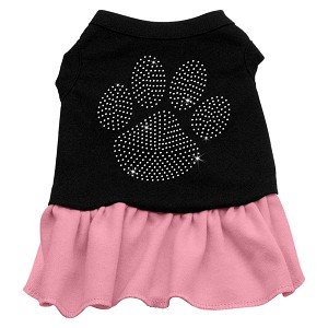 Rhinestone Clear Paw Dress Black with Light Pink Lg (14)