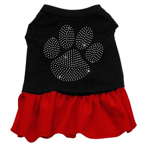 Rhinestone Clear Paw Dress Black with Red Sm (10)