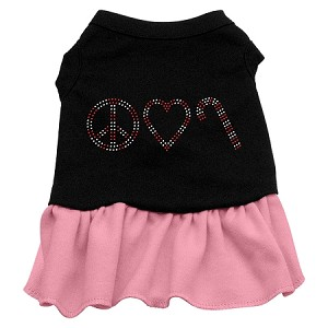 Peace Love Candy Cane Rhinestone Dress Black with Light Pink XXL (18)