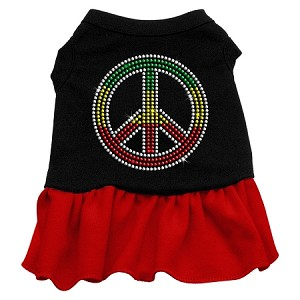 Rhinestone Rasta Peace Dress Black with Red Sm (10)