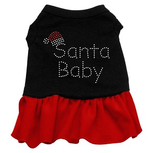Santa Baby Rhinestone Dress Black with Red XL (16)