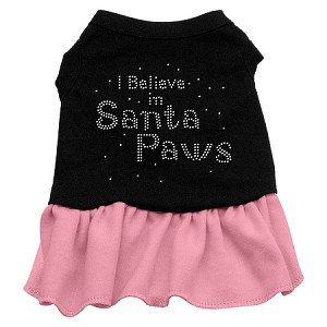 Santa Paws Rhinestone Dress Black with Pink XL (16)