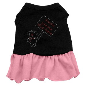 Santa Stop Here Rhinestone Dress Black with Pink XXL (18)
