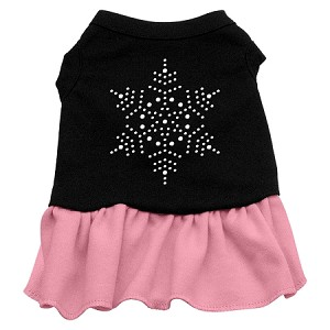 Snowflake Rhinestone Dress Black with Light Pink Lg (14)