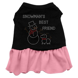 Snowman's Best Friend Rhinestone Dress Black with Light Pink Med (12)
