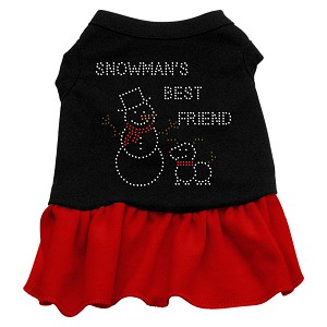 Snowman's Best Friend Rhinestone Dress Black with Red Lg (14)