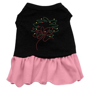 Wreath Rhinestone Dress Black with Light Pink XL (16)